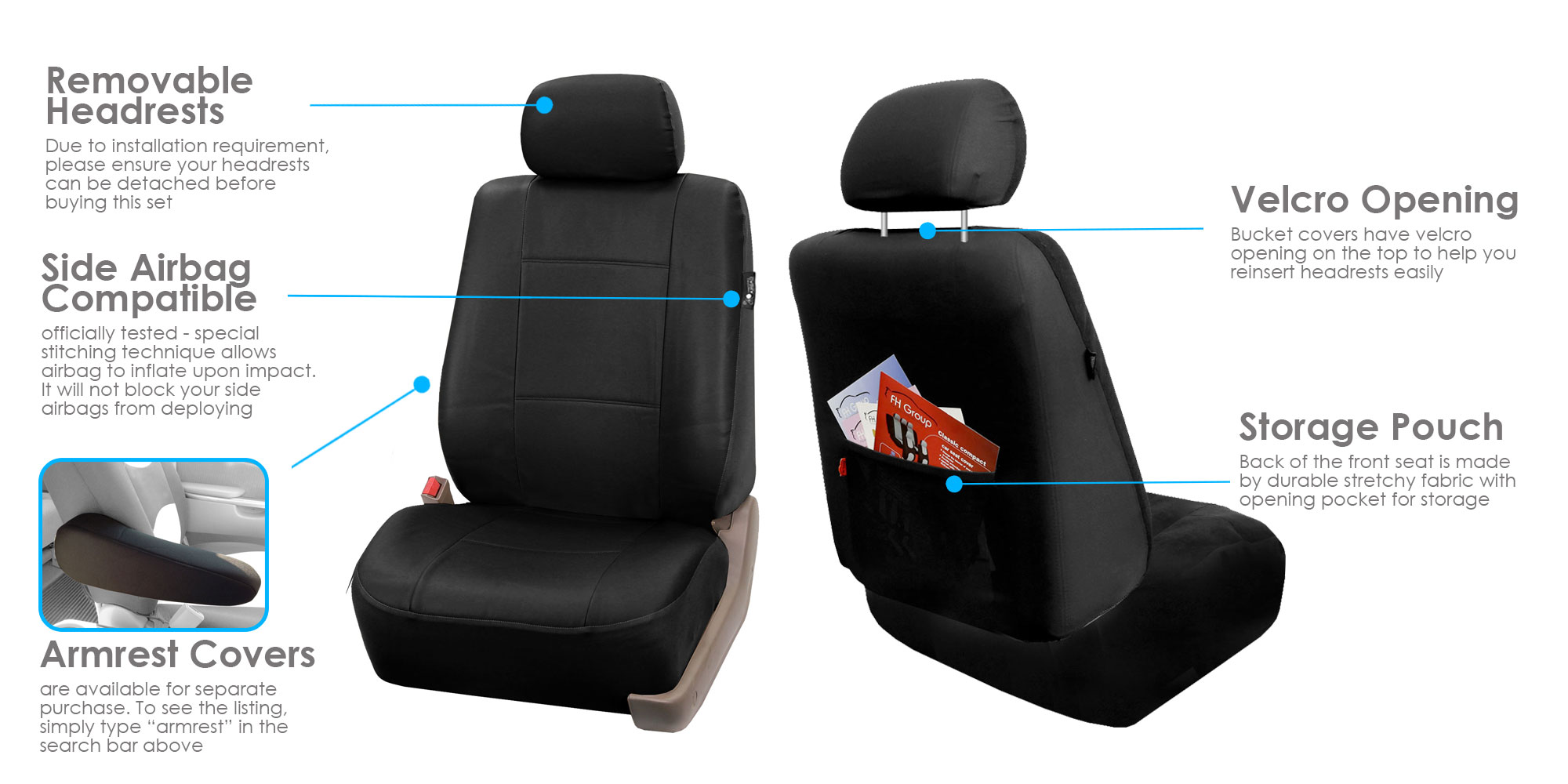 Surprising Fh Group Black Faux Leather Airbag Compatible Car Seat Covers 2 Pack Frankydiablos Diy Chair Ideas Frankydiabloscom