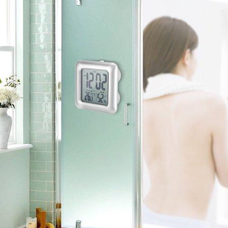 FAGINEY Waterproof Wall Clock,Wall Clock,Bathroom Digital Wall Clock Waterproof Wall Suction Clock Vacuum Thermometer Hygrometer ()