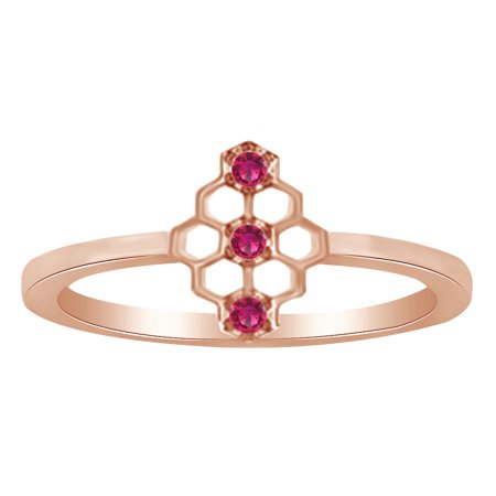 Round Cut Simulated CZ Mini Honeycomb Style Ring In 14K Rose Gold Over Sterling
