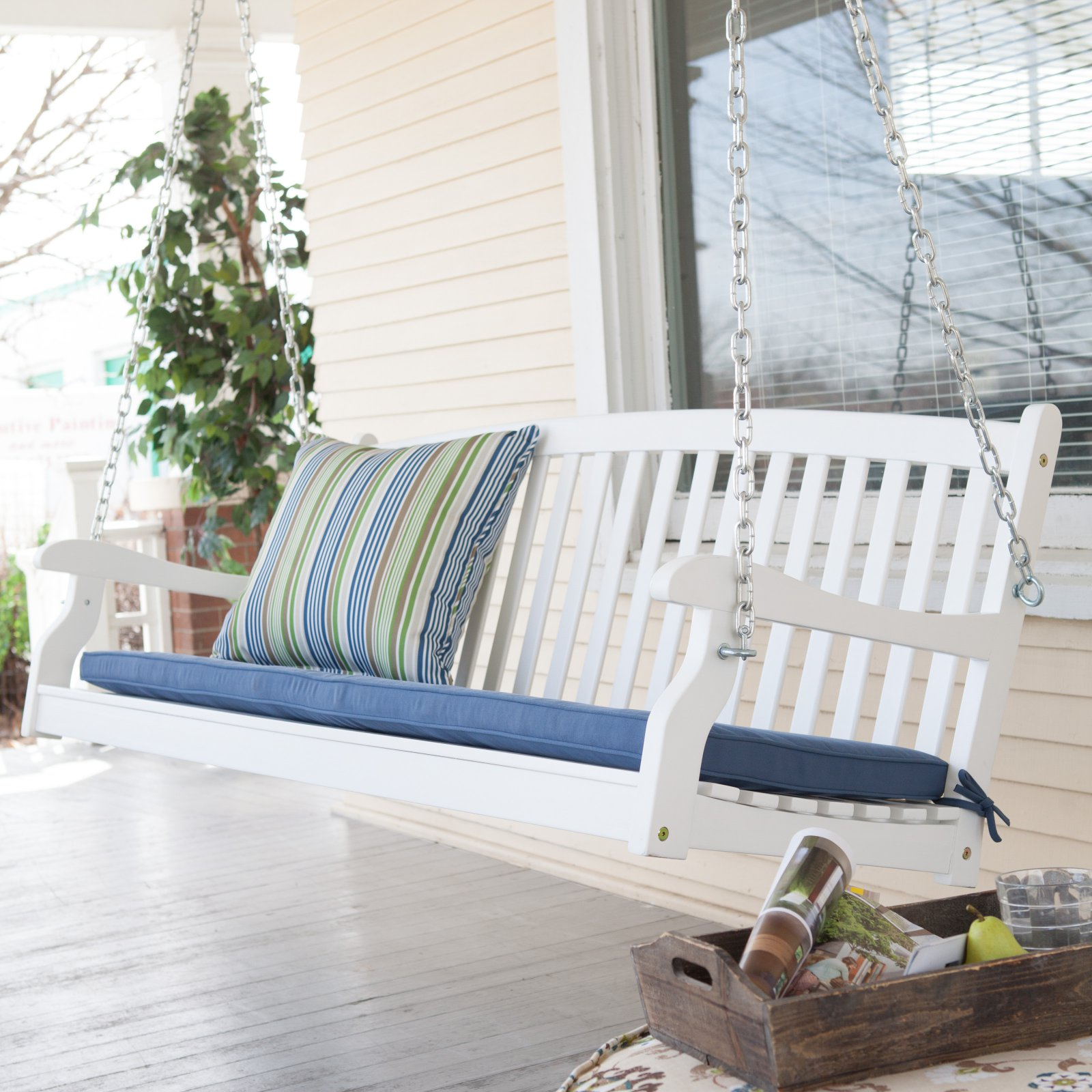 Coral Coast Pleasant Bay All-Weather Curved Back Acacia Wood Porch Swing - Painted White