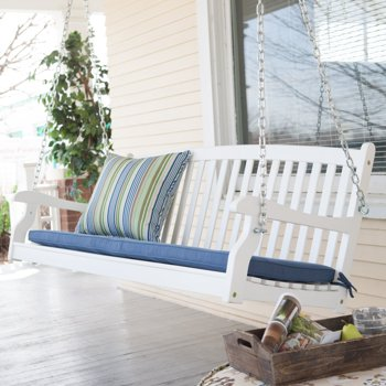 Coral Coast Pleasant Bay All-Weather Curved Back Acacia Wood Porch Swing