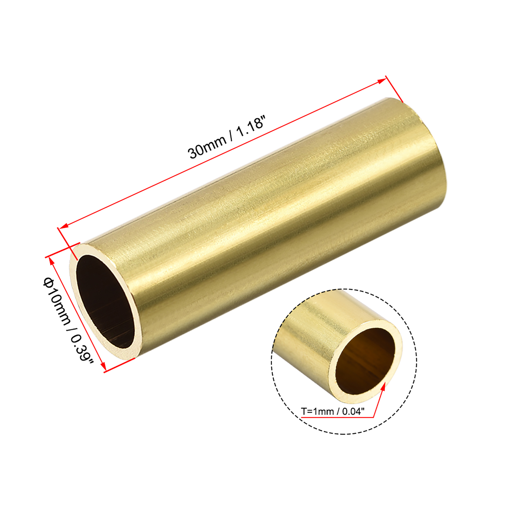 Brass Round Tube 10mm OD 1mm Wall Thickness 30mm Length for DIY Crafts 10 Pcs