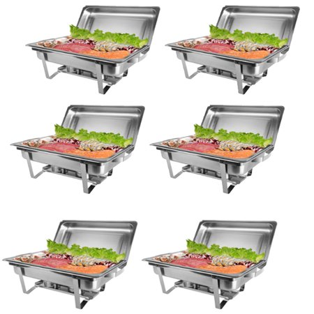 Rectangular Catering Tray - Zimtown 6Pcs Rectangular Chafing Dish 8 Quart Stainless Steel Full Size Tray Buffet Catering