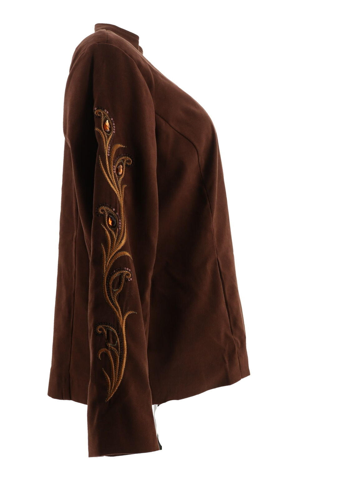 Bob Mackie Faux Suede Jacket Rhinestone Embroidery Black XL NEW A298765