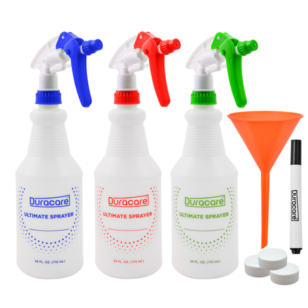 Duracare Spray Bottles for Cleaning Solutions, Industrial Strength, Chemical Resistant and leak Proof 24oz Plastic Spray Bottles (3 Pack) Adjustable Nozzle Rubber Bottle Spray