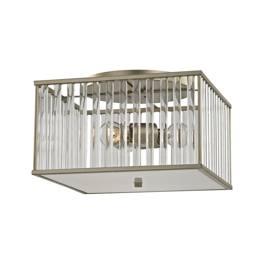 Ridley 3 Light Semi Flush In Aged Silver With Oval Glass Rods - image 1 de 1