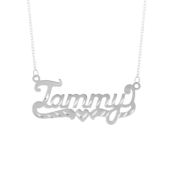 """Personalized Sterling Silver or Gold Plated or 14k """"Tammy"""" Single Nameplate Necklace With Heart and Tail. With 18 inch Link Chain"""