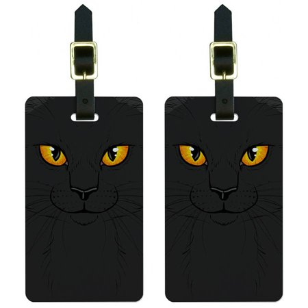 Black Cat Face Pet Kitty Halloween Luggage Tags Suitcase Carry-On ID, Set of 2