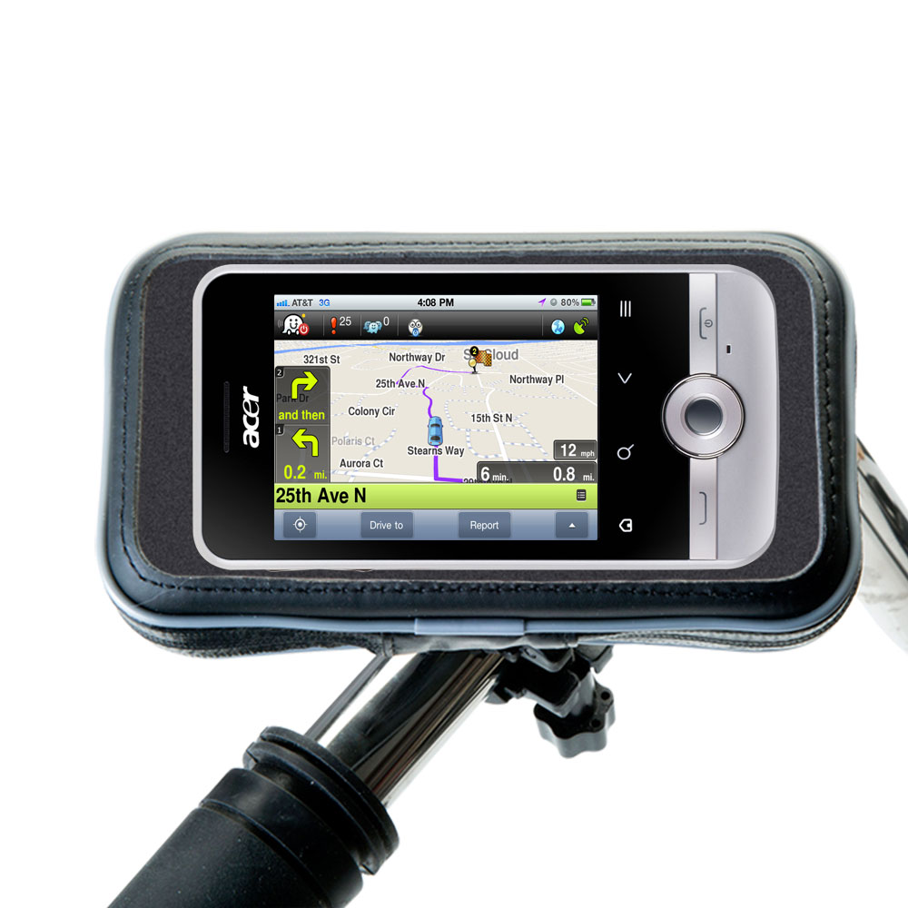Heavy Duty Weather Resistant Bicycle / Motorcycle Handlebar Mount Holder Designed for the Acer beTouch E120