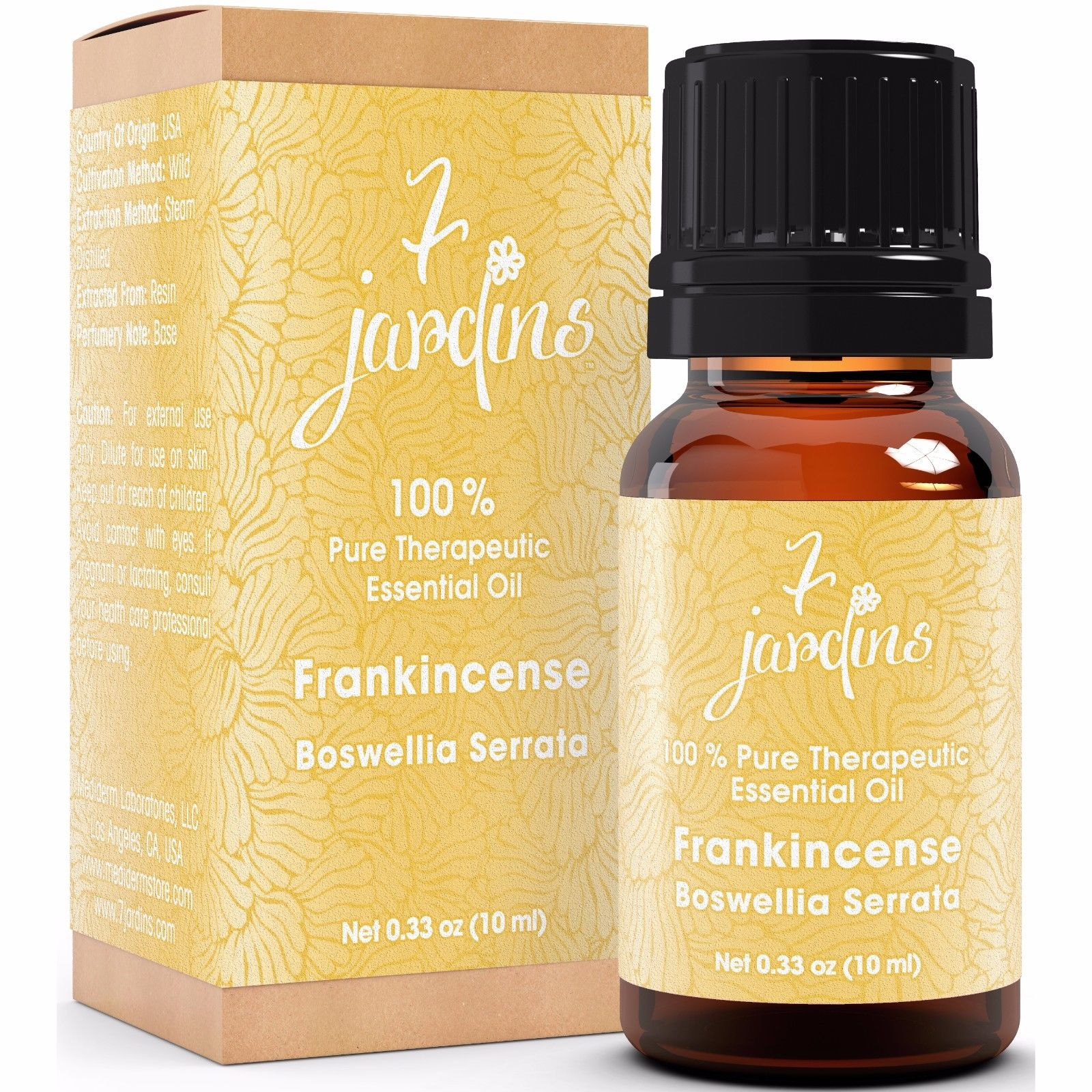 Premium Frankincense 100% Natural Therapeutic Essential Oil by 7 Jardins - 10ml