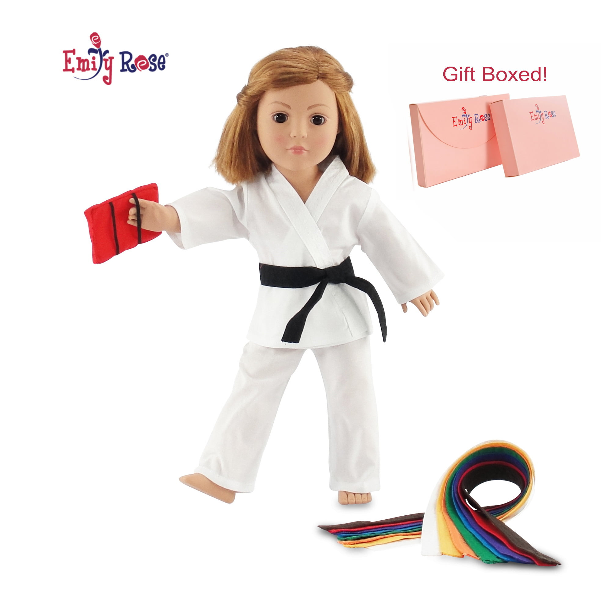 Karate Set w//Black Belt /& Red Kick Board for 18 inch American Girl Doll Clothes