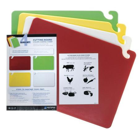 San Jamar Cut-N-Carry Co-Polymer 4-Board Cutting Board System - 24