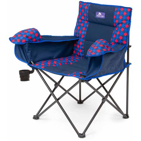 Ozark Trail Cold Weather Chair with Steel Frame, Blue/Red/Warm Gray