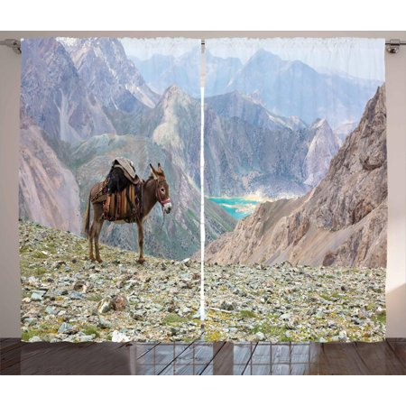 Harness Living Room Set (Donkey Curtains 2 Panels Set, Animal with Traditional Harness Carrying a Sheep Wild Mountain Area and Lake Scenery, Window Drapes for Living Room Bedroom, 108W X 90L Inches, Multicolor, by)