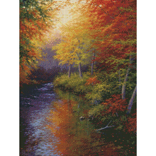 "Reflections Of Autumn Needlepoint Kit, 16"" x 12"" Stitched In Floss"