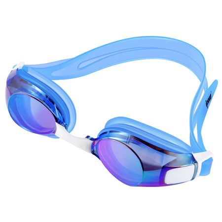 Swimming Goggles, IPOW Waterproof Swim Goggles Anti-Fog Swimming Glasses for Adults Women Men Kids Girls Boys Youth,UV Protection Swim Goggle with Free Protection Case, Blue - Airplane Goggles
