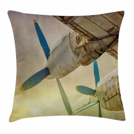 Vintage Airplane Decor Throw Pillow Cushion Cover, Old Wing Aircraft with Propellers at Sunset Snowy Winter Sky, Decorative Square Accent Pillow Case, 18 X 18 Inches, Brown Blue Yellow, by Ambesonne
