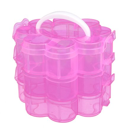 Jewelry 3-layers Plum Blossom Shaped Container Storage Case Clear -
