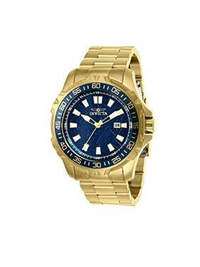 Invicta Men's 25793 48mm Pro Diver Quartz Blue Web Dial 18K Gold Plated SS Watch