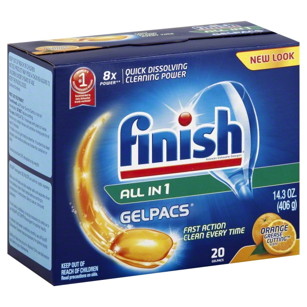 Finish Gelpacs Dishwasher Detergent, Orange Scent, 20 Count