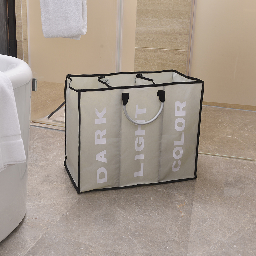 Outopee Big Laundry Basket Large Laundry Hamper Portable Three Lattice Large Capacity Laundry Basket Light Gray