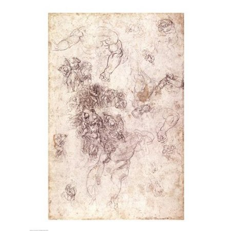 Posterazzi BALBAL192506LARGE Study of Figures for The Last Judgement with Artists Signature 1536-41 Print by Michelangelo Buonarroti - 24 x 36 in. - Large - image 1 de 1