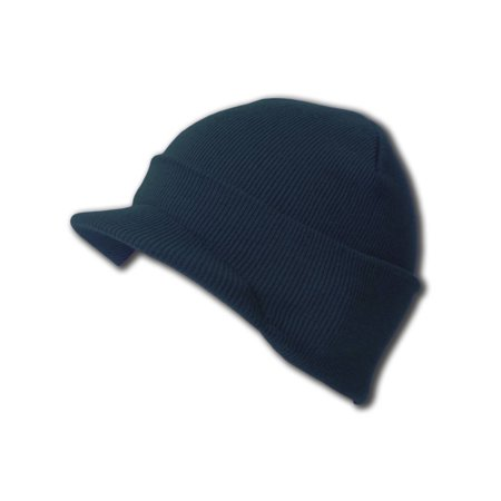 New Blank Cuff Winter Beanie Visor (Comes In 18 Different Colors) - Mens Reversible Visor Beanie