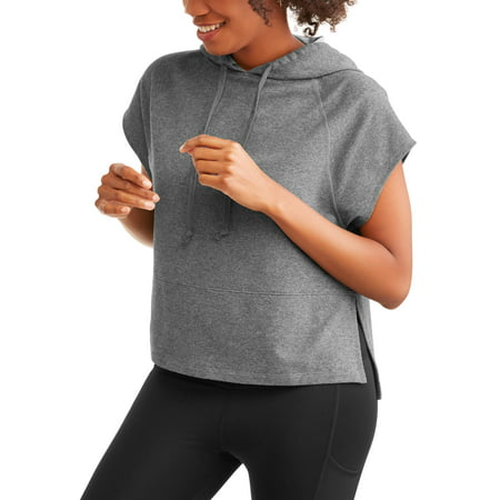 Women's French Terry Short Sleeve Side Slit Crop Hoodie