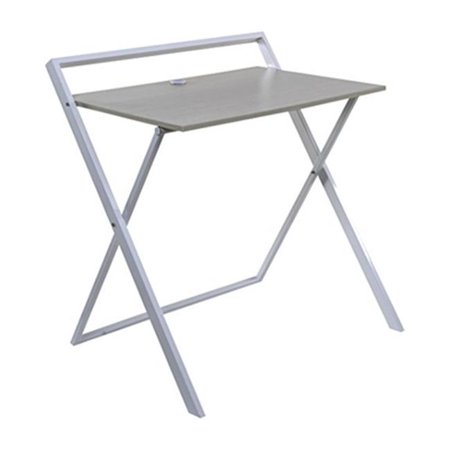 34.75 x 32.25 x 24.5 in. No Assembly Folding Desk with Dual USB Charger, Whitewashed Oak & White - image 1 de 1