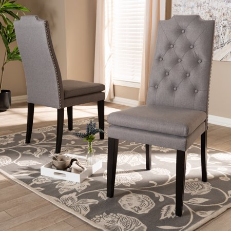 Baxton Studio Dylin Modern and ContemporaryGray Fabric Upholstered Button Tufted Wood Dining Chair Set ()