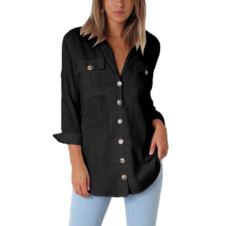 - Womens Casual Loose Roll-up Sleeve Blouse Ladies Pocket Button Down Shirt Tops Lapel V Neck Long Sleeve OL Shirts