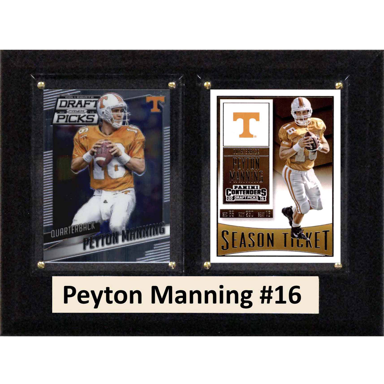 """C & I Collectables NCAA 6"""" x 8"""" Peyton Manning Tennessee Volunteers 2 Card Plaque"""