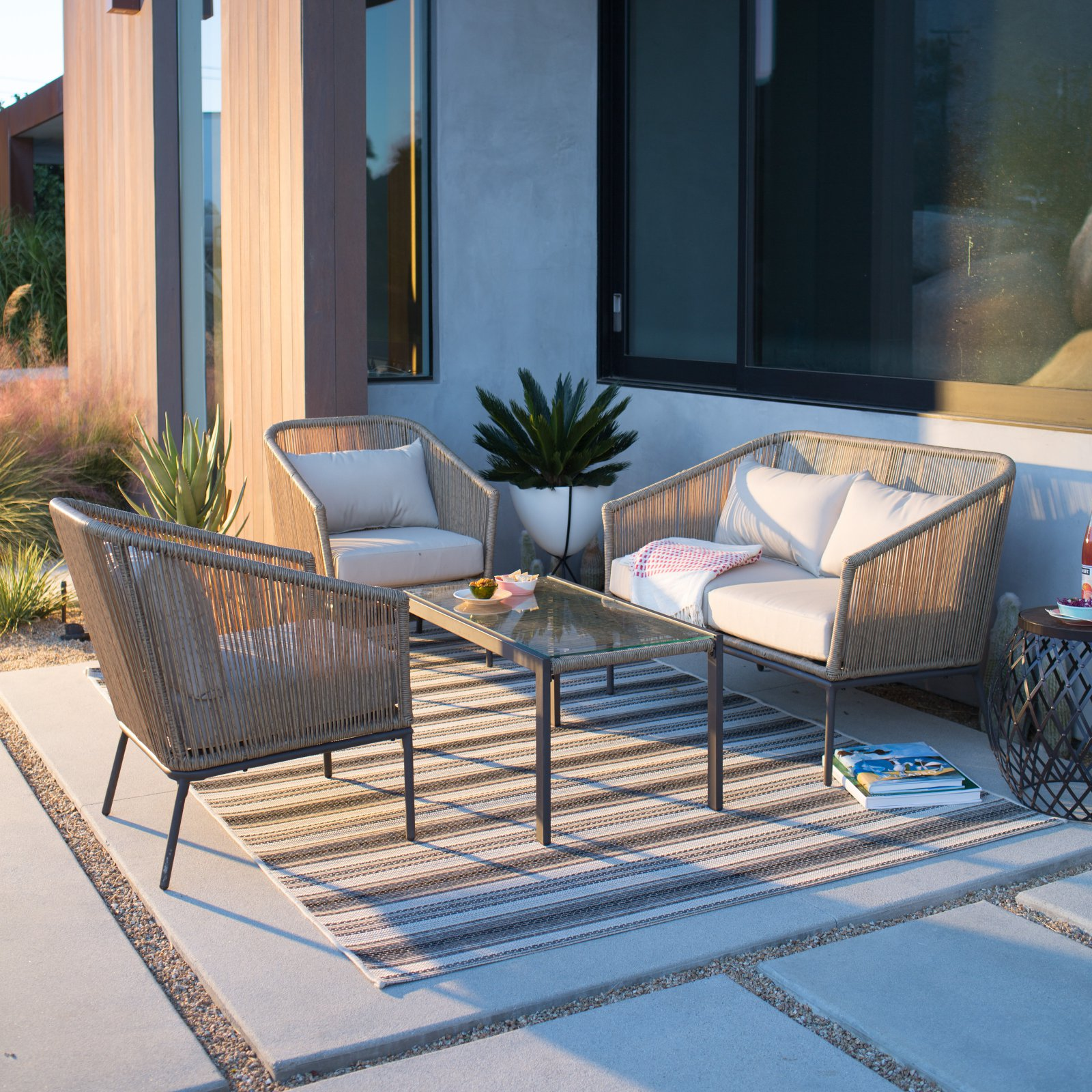 Belham Living Encore Wicker 4 Piece Patio Conversation Set