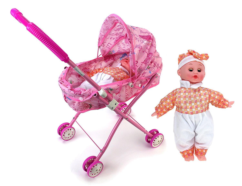 My Cute Precious Sleepy Newborn Baby Toy Doll w  Folding Stroller by Velocity Toys