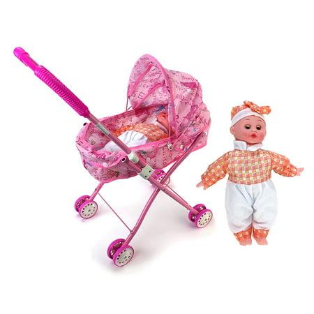 My Cute Precious Sleepy Newborn Baby Toy Doll w/ Folding Stroller](Double Baby Doll Stroller)
