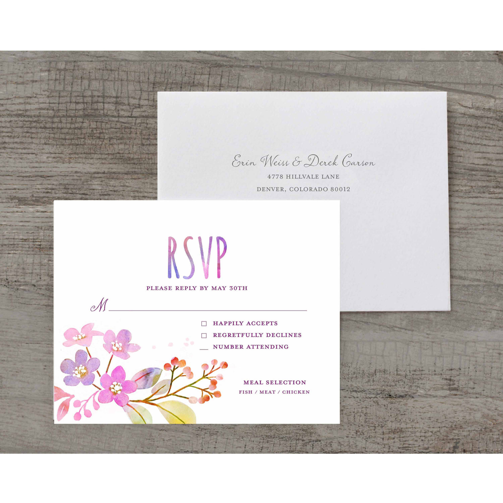 Watercolor Feather Deluxe RSVP