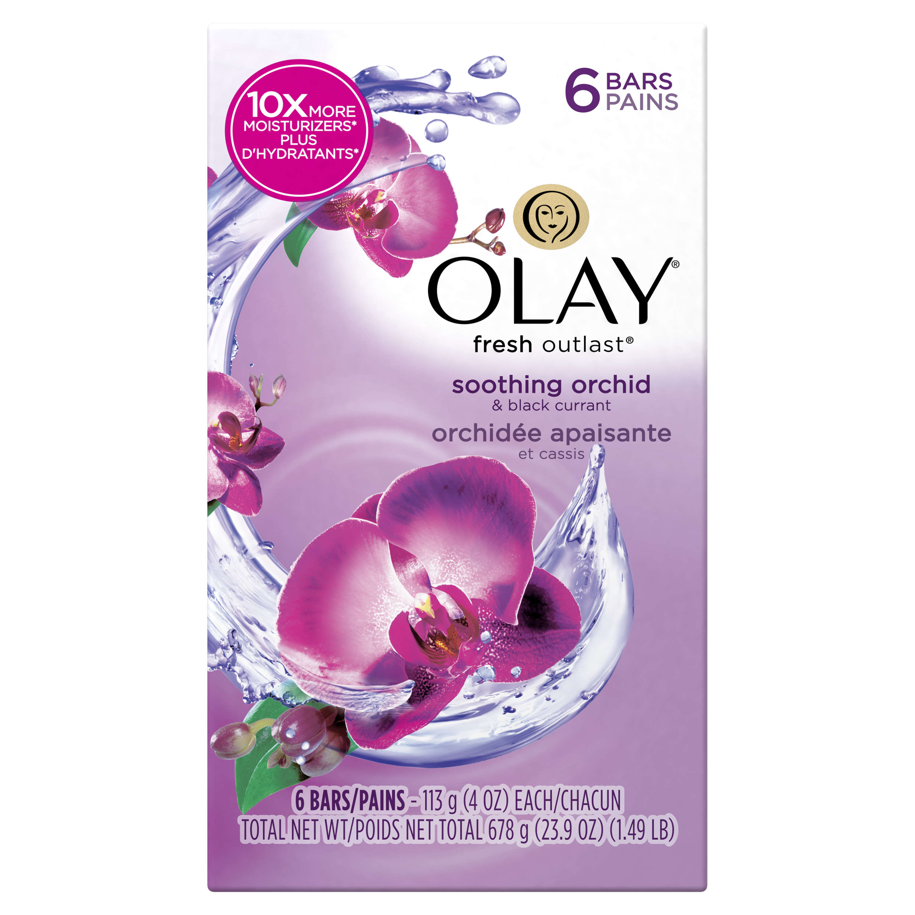 Olay Fresh Outlast Soothing Orchid & Black Currant Beauty Bar 4 oz, 6 count