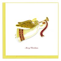 "6"" Red and White ""Merry Christmas"" Angel Square Christmas Greeting Card"