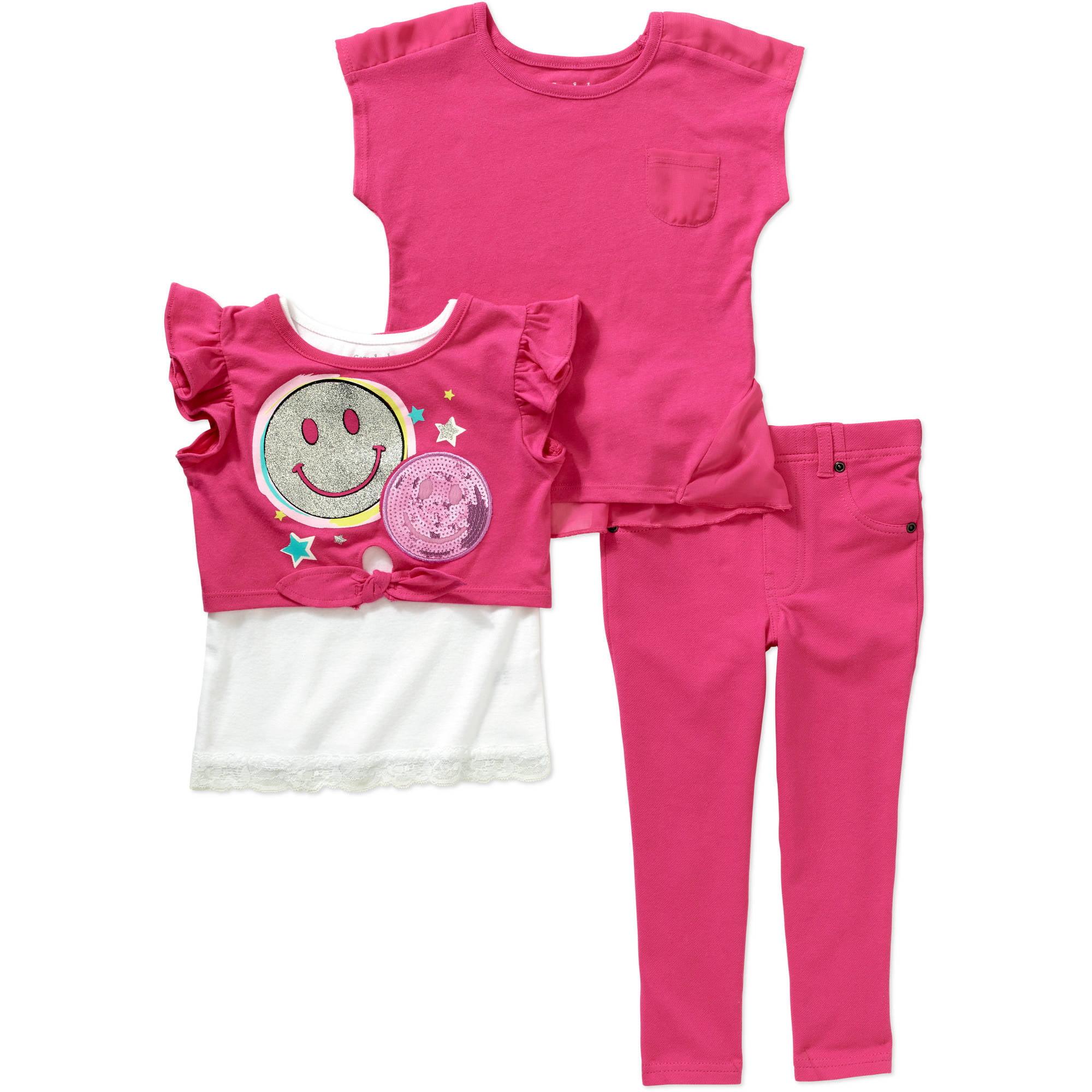 Garanimals Baby Toddler Girl Short Sleeve 2Fer Tee, Pocket Tee, & Jeggings 3-Piece Outfit Set