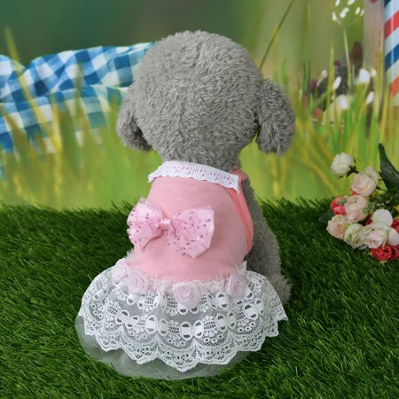 Dog Bow Tutu Dress Lace Skirt Pet Puppy Dog Princess Costume Apparel Clothes S