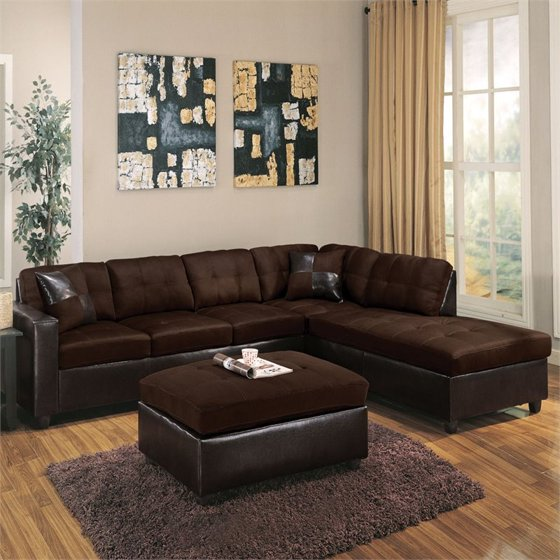 ACME Milano Reversible Sectional Sofa in Chocolate