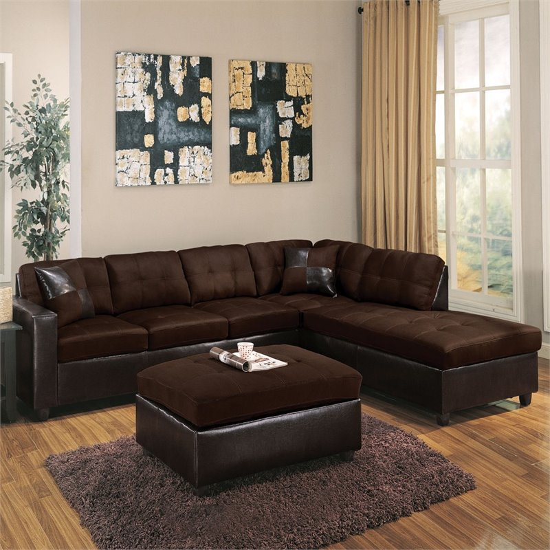 ACME Milano Reversible Sectional Sofa In Chocolate Easy Rider