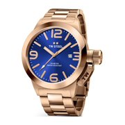Mens Stainless Steel Case and Canteen Bracelet Blue Dial Rose Gold Watch - CB181