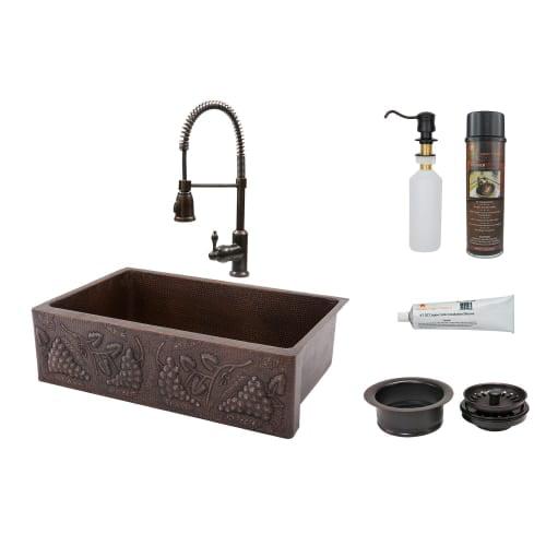 "Premier Copper Products KSP4_KASDB33229G 33"" Hammered Copper Kitchen Apron Singl"