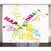 Birthday Curtains 2 Panels Set, Surprise in a Box Theme Doodle Style Cheerful Spirals Confetti and Stars Happiness, Window Drapes for Living Room Bedroom, 108W X 63L Inches, Multicolor, by Ambesonne