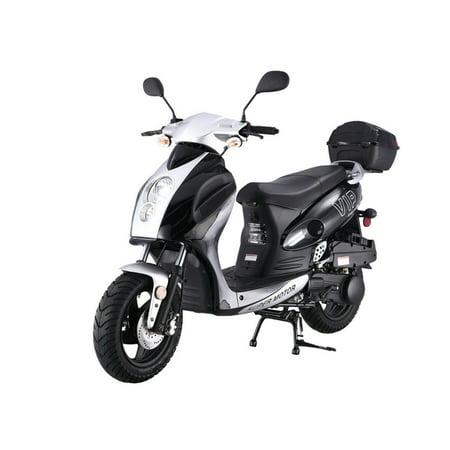 BLACK TAOTAO Powermax 150cc Moped Scooter with Sports Style, Hand Brake, Key and Kick Start, Rear Trunk