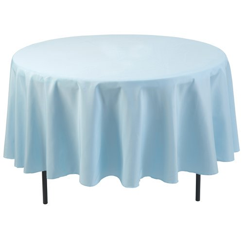 Polyester Round Tablecloth, Light Blue