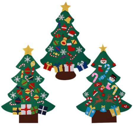 DIY Felt Christmas Tree Set with 26 Removable Ornaments Xmas Hand Craft Decorations ()