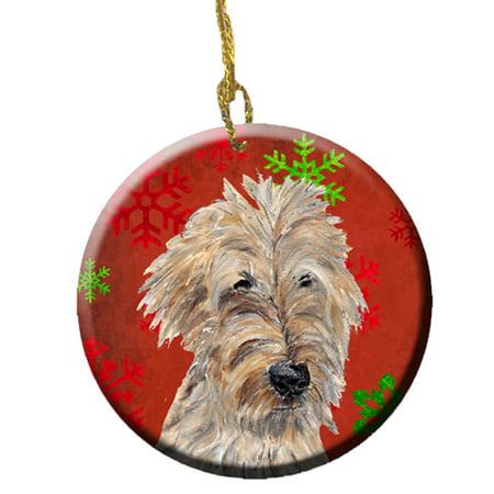 Golden Doodle Red Snowflakes Holiday Ceramic
