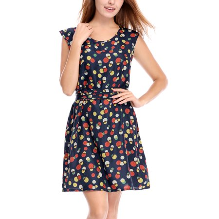 Women's Allover Print Belted Short Dress Blue (Size M / 8)](Size 8 Dress Weight)